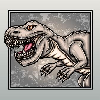 Dinossauros t-rex na velha floresta.