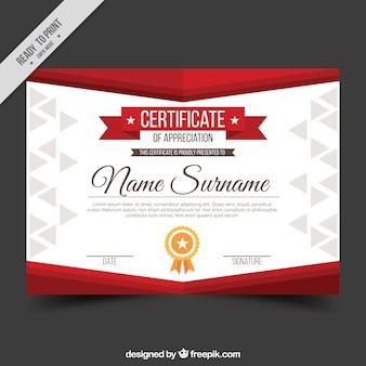 Diploma apreciação com formas vermelhas