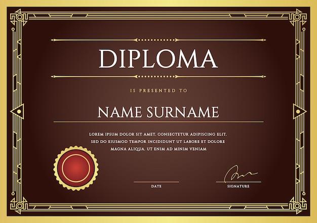 Diploma beautiful design template Vetor Premium