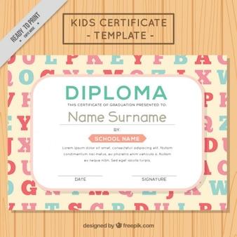Diploma com o alfabeto para crianças