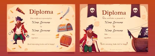 Diploma com tema de pirata para crianças