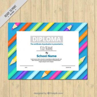 Diploma criativa com lápis de cor