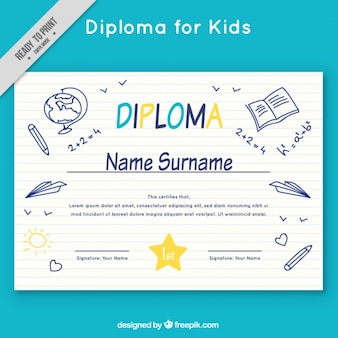 Diploma da escola com esboços