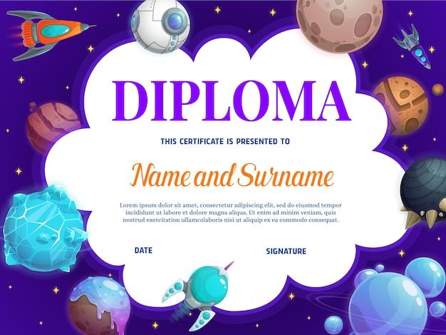 Diploma da escola de educação com, foguetes e planetas.