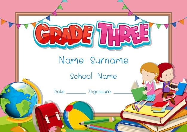 Diploma da terceira série ou modelo de certificado