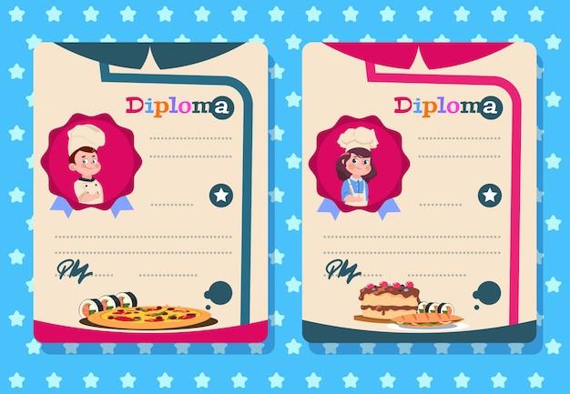 Diploma de aula de culinária. menina e menino cozinham criança com avental, modelos de certificado de classe de cozinha
