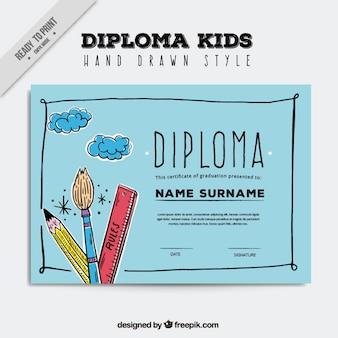 Diploma de crianças com a mão tirada elementos artísticos