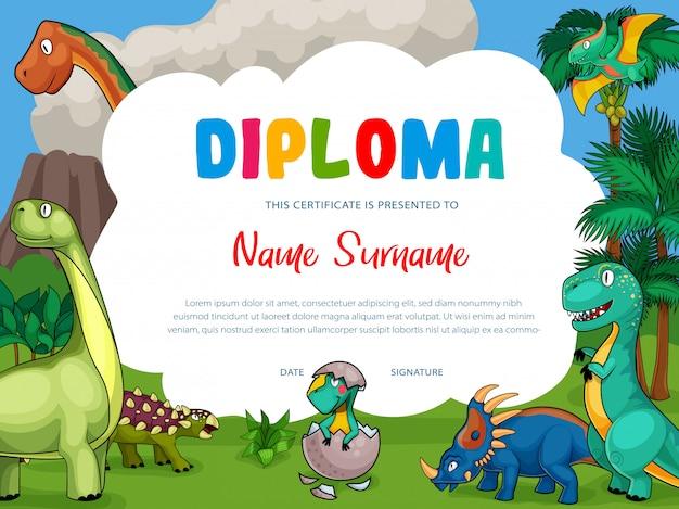 Diploma de crianças com dinossauros bonitos dos desenhos animados