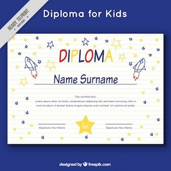 Diploma de crianças com foguetes e estrelas doodles