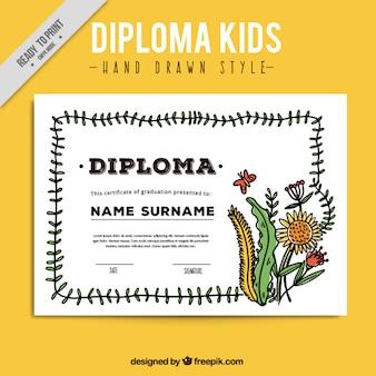 Diploma de crianças com plantas desenhadas mão