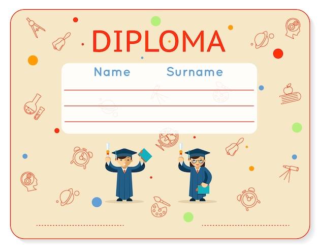 Diploma de crianças em idade escolar.