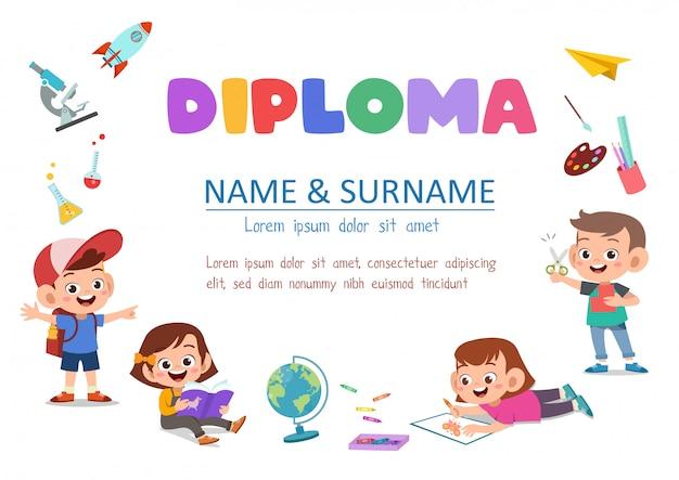 Diploma de crianças pré-escolares
