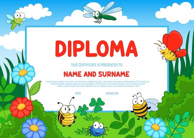 Diploma de educação de insetos certificado de jardim de infância