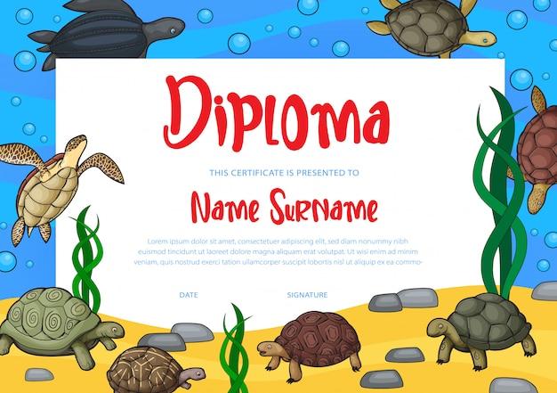 Diploma de educação infantil e modelo de certificado