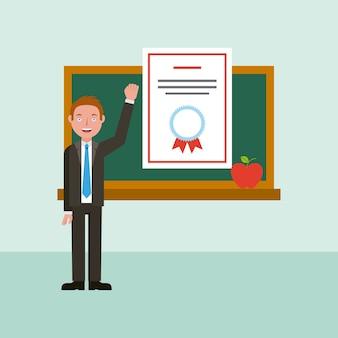 Diploma de professor e lousa de aprendizagem de educação on-line