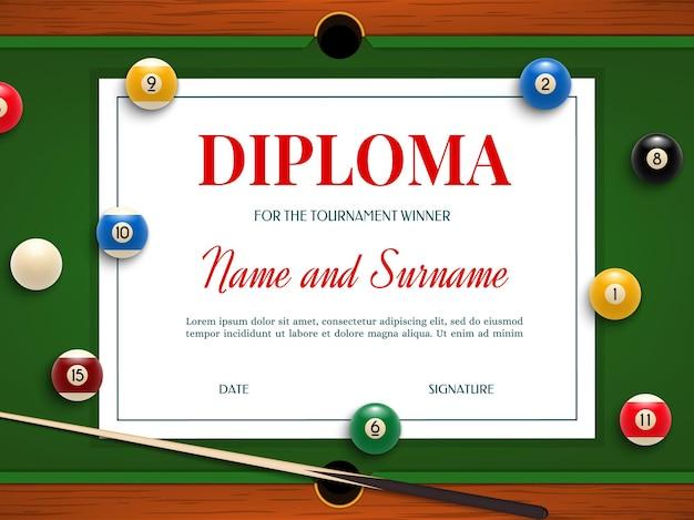 Diploma de vencedor do torneio de bilhar, certificado de participação com taco e bolas