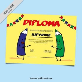 Diploma desenhada à mão para as crianças com lápis engraçados