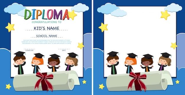 Diploma e modelo de fronteira com crianças felizes em vestido de formatura