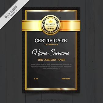 Diploma elegante com detalhes dourados
