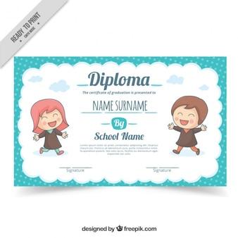 Diploma escolar com crianças adoráveis