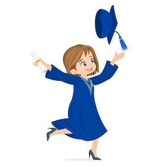 Diploma, graduando, pular, feliz, estudante, menina