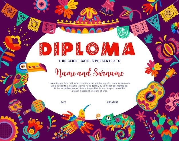 Diploma infantil com animais mexicanos e flores