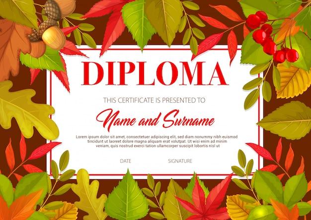 Diploma infantil com folhas de outono, carvalho, bétula, sorveira