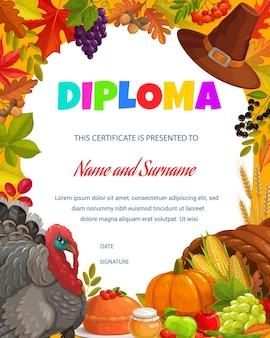 Diploma infantil peru de ação de graças, colheita de outono