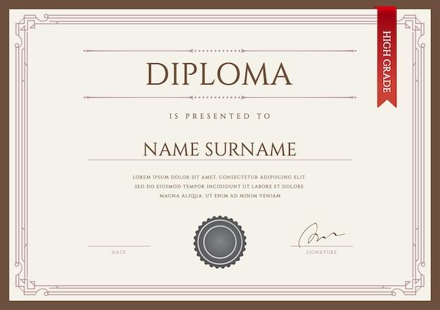 Diploma ou certificado premium