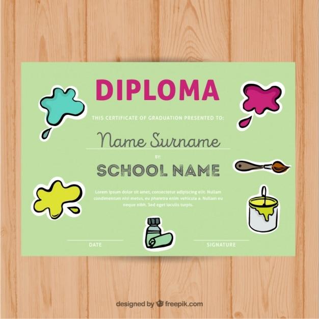 Diploma para crianças com manchas de tinta