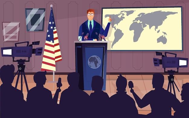 Diplomata e política com ilustração plana de símbolos de coletiva de imprensa