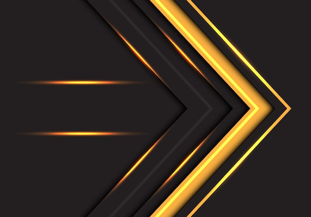 Direção abstrata da seta da luz amarela no fundo cinzento escuro.