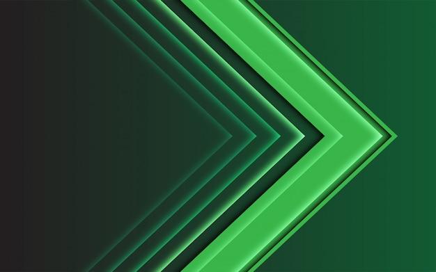 Direção abstrata da seta da luz verde no fundo futurista moderno escuro.