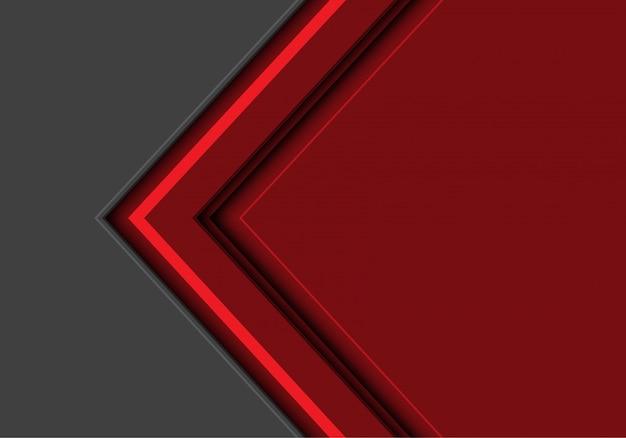 Direção clara da seta vermelha com fundo do cinza do espaço vazio.