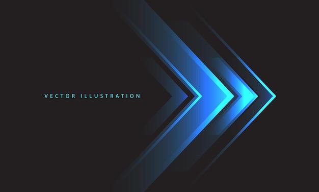 Direção da luz da seta azul abstrata no vetor de fundo futurista de tecnologia de design cinza escuro