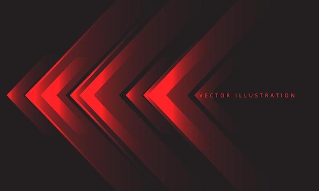 Direção da luz da seta vermelha abstrata no vetor de fundo futurista de tecnologia de design cinza escuro