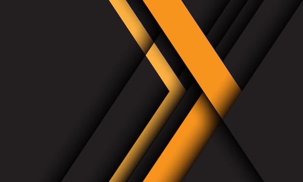 Direção da seta amarela abstrata geométrica em fundo de tecnologia futurista de design cinza escuro