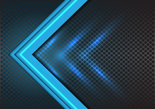 Direção da seta azul no fundo de malha de círculo.