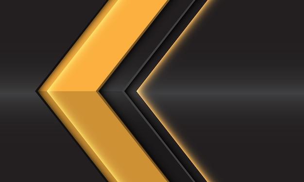 Direção da seta brilhante amarela abstrata na ilustração futurista moderna do design metálico cinza escuro.