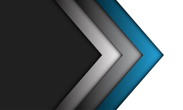 Direção da seta cinza azul abstrata em cinza com fundo de tecnologia futurista de luxo de espaço em branco