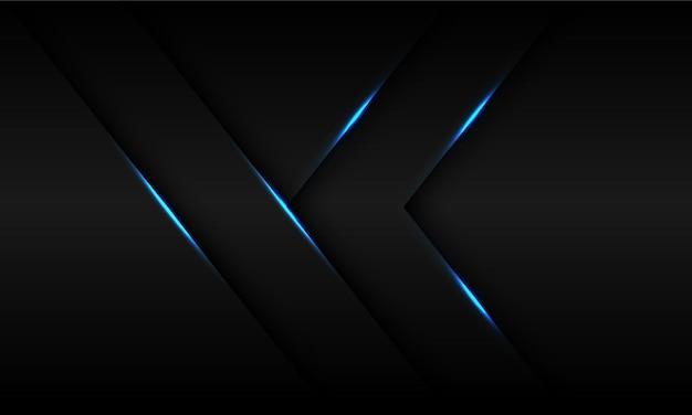 Direção da seta da sombra de luz azul abstrata em fundo preto metálico