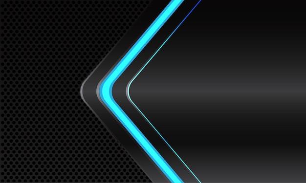 Direção da seta de néon de luz de linha azul abstrata em cinza escuro metálico com desenho de círculo preto