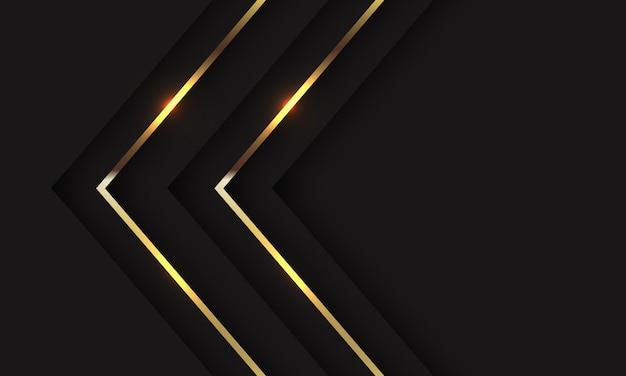 Direção da seta dupla sombra dourada abstrata no preto