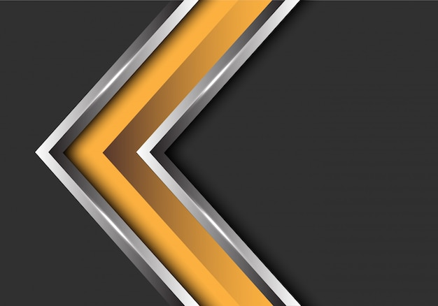 Direção de prata amarela da seta no fundo cinzento do espaço vazio.