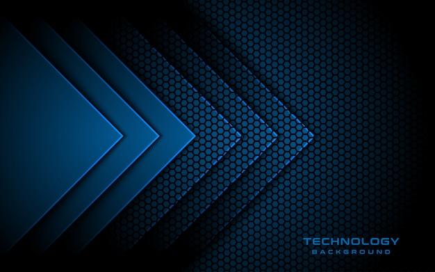 Direção de seta 3d luz azul, plano de fundo texturizado hexágono