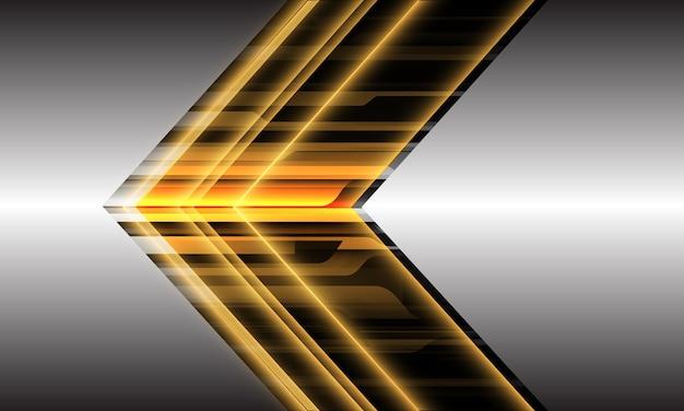 Direção de seta cibernética de luz amarela abstrata geométrica dinâmica em design de prata futurista moderno