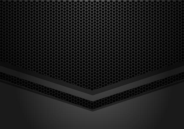 Direção de seta cinza escuro no hexágono malha de fundo.