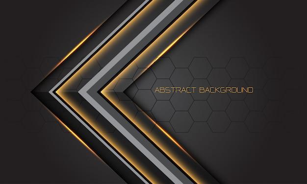Direção de seta cinza luz ouro sobre fundo futurista de luxo moderno design escuro.