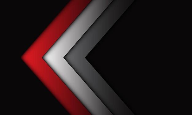 Direção de seta cinza prata vermelha abstrata no fundo de tecnologia futurista de luxo de espaço em branco cinza