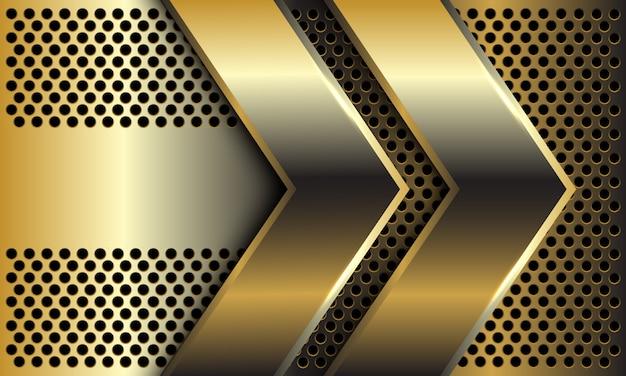 Direção de seta dourada dupla abstrata no fundo futurista de luxo moderno design padrão círculo malha.